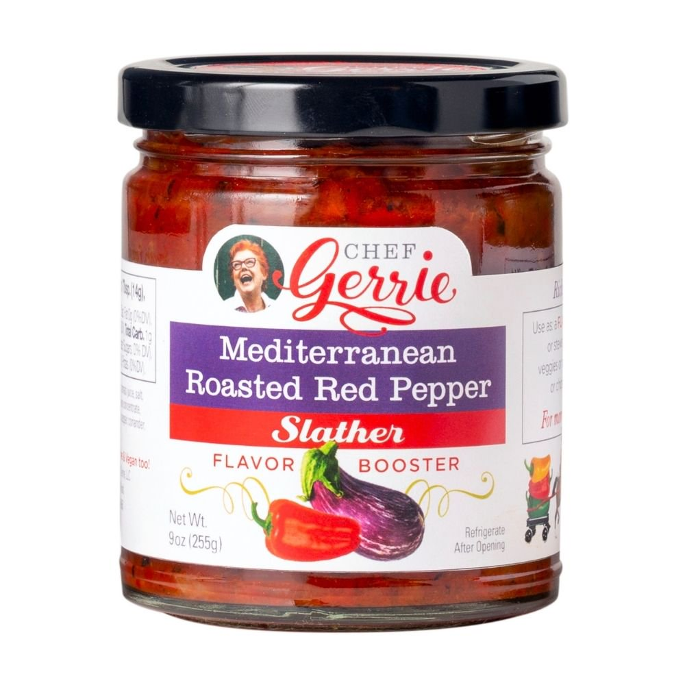 Chef Gerrie's Gourmet Slathers, Mediterranean Roasted Red Pepper, 9 oz. Jar