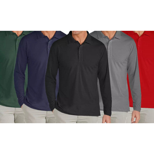 3-Pack Galaxy By Harvic Men's Polo Shirts