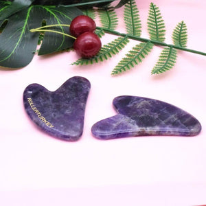 ROLLER TURKEY Heart Shaped Amethyst Gua Sha Board - Lujain Beauty