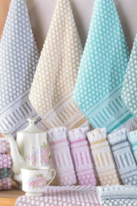 Turkish Bath Towels Riva Ephesus 30x50 cm 12 Piece Hand Towel Set 100% Cotton - Lujain Beauty