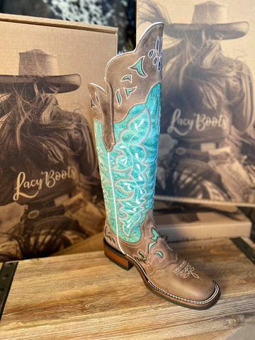 Turquoise Tall Buckaroo Style Boot  - No Shin Guards