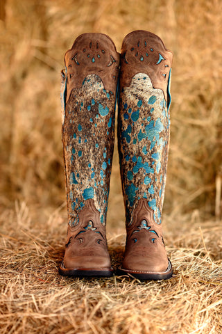 Tall Acid Turquoise Shin Guard Boots
