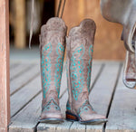 Tall Shin Guard Boots - Rustic Brown Teal Stitching