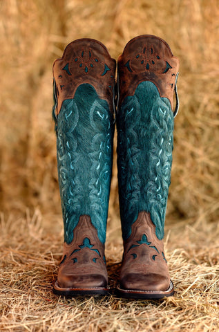 Tall Teal Hair-On shin guard boot *Limited Edition Color