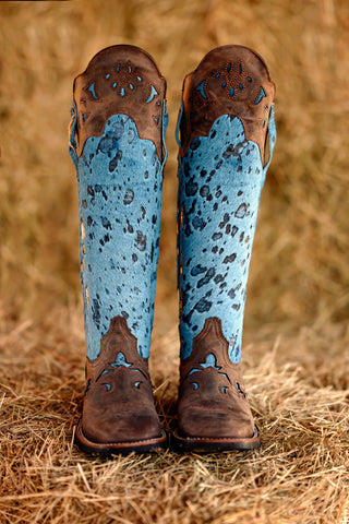 Tall Shin Guard Boot in Acid Washed Blue