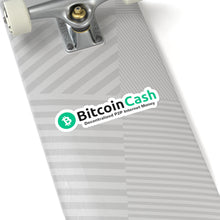 Load image into Gallery viewer, Bitcoin Cash Horizontal Logo w/Tagline Vinyl Sticker