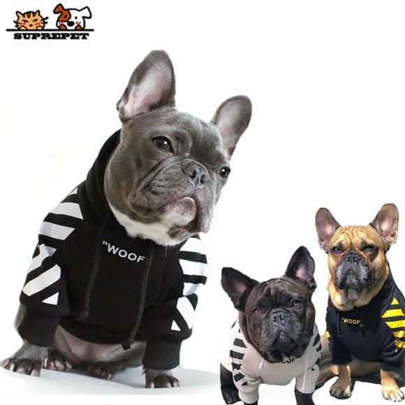 Stripe Pattern Dog Hoodie Pullover Dog Clothes Sweatshirt for French Bulldog and Small Dogs.  Available in 6 sizes, and 3 different colourways.