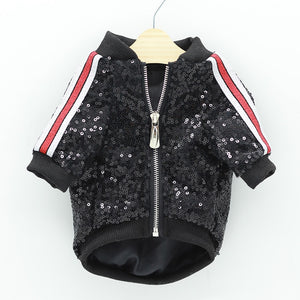 Luxury Black Sequin Bomber Jacket Coat for Small Dog or Puppy. Beautiful sequin jacket with a zip fastening and sleeves with contrasting stripes.