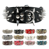 "2"" Wide Sharp Spiked Studded Adjustable Leather Collar Pit Bull Bulldog For Medium and Large Dogs.  Available in several colours and sizes."
