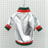 Lightweight Metallic Bomber Jacket For Small Dogs.  With zip fastening and green and red trim detail.  Available in Gold and Silver.
