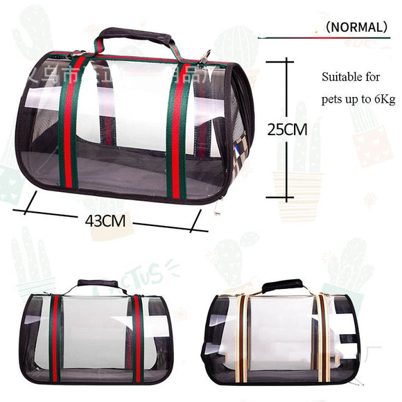 Pet Carrier Travel Bag For Small Dogs Cats Eco-friendly Waterproof Windproof Transparent.  Choose from 2 colours and 2 sizes.