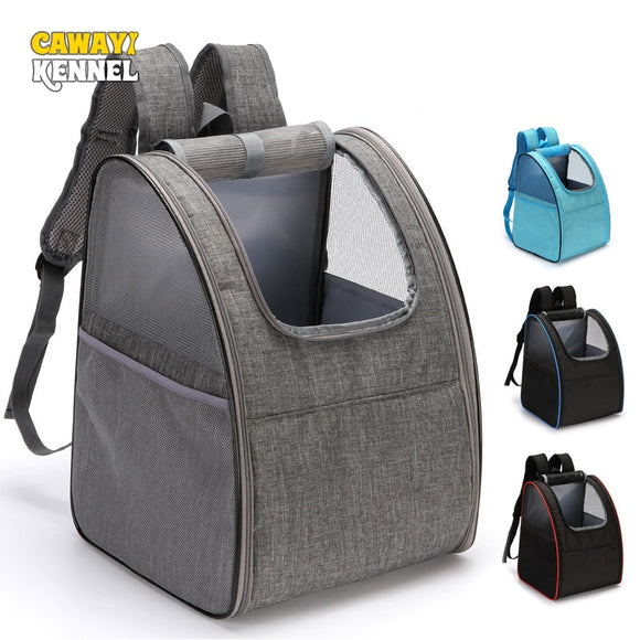 Pet Carrier Backpack Travel Bag for Small Dogs and Cats.  Keep your pet safe when you are out and about.  Available in blue, black or grey.