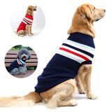 Warm Striped Sweater for Small Medium and Large Dogs from Chihuahua to Golden Retriever.  Available in several sizes.  Choose from Navy Blue or Red.