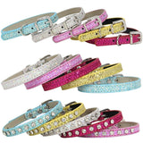 Beautiful Sparkling Glitter Rhinestone PU Collar Strap for Small Dog, Puppy or Cat. Available in 5 colours.