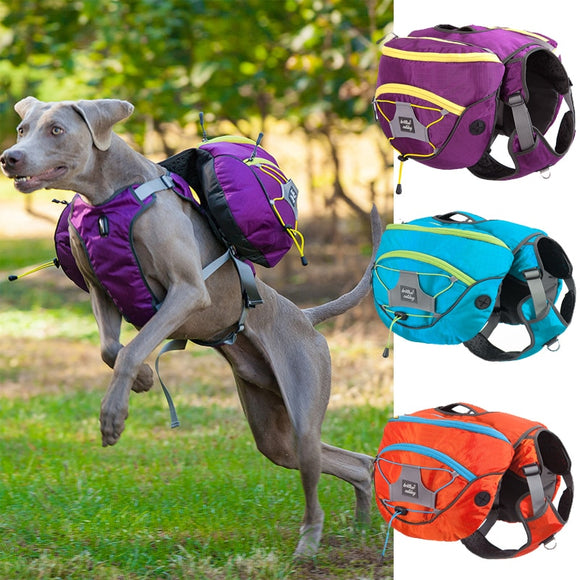 Nylon Backpack Harness Vest Outdoor Travel and Snack Pack For Large and Medium Sized Dogs.  Available in Blue, Orange and Purple.  Also available in various sizes.  Please check the size guide.