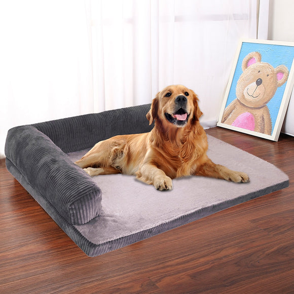 Plush Soft and comfortable L Shaped Couch Sofa Bed Kennel Cushion Mat For Large or Small Dogs  Available in Grey, Red or Chocolate Brown.  In 4 different sizes.