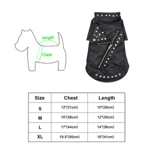 PU Leather Warm Waterproof Jacket Coat for Small Medium Dogs.  With biker style Zip and stud details.