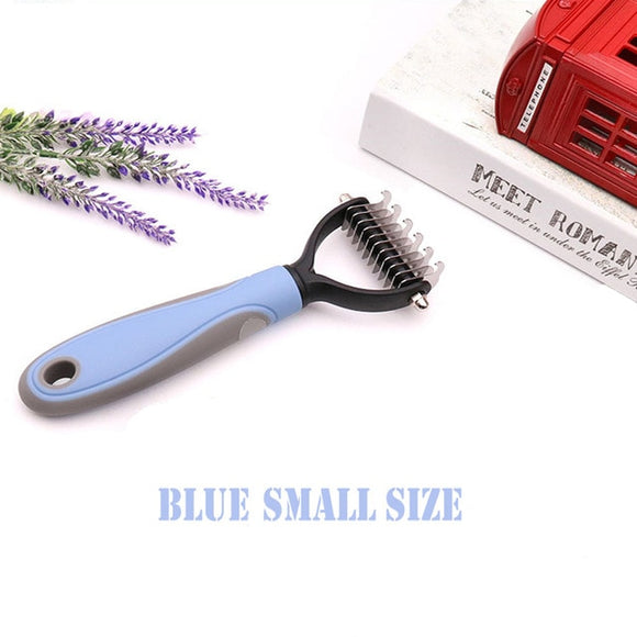 Hair Removal Comb for Taming Long Matted Pet Hair Fur and Deshedding Grooming Tool.  Pink or Blue, Small or Large.