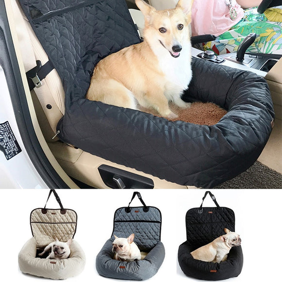 2 in 1 Waterproof Folding Pet Carrier and Car Seat Pad Travel Accessory.  Keep your pet safe and comfortable when you are on the move.  Available in Beige, Grey and Black.
