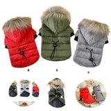 Warm Winter Quilted Puffer Jacket Coat with Faux Fur on Hood for Small Dog or Puppy.  Available in Grey, Red, and Army Green.  Suitable for Chihuahua, Bichon, Teacup, etc.
