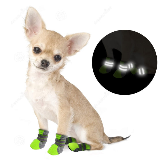 Cute set of 4 Waterproof Reflective Rain Boots Shoes with Soft Bottom For Small Dogs Chihuahua, Bichon, etc.  Available in 5 colours, and 4 different sizes.