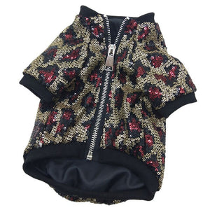 Luxury Sequin Leopard Pattern Jacket For Small Dog or Puppy Clothing.  With zip fastening.  Choose from 3 colours: Red, Blue or Gold.