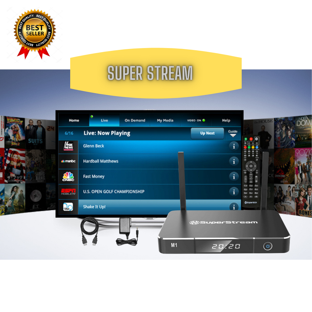 SuperStream M1 Android 9.0 TV Box High Performance IPTV Box With 4/32Gb Internet Streaming media Player