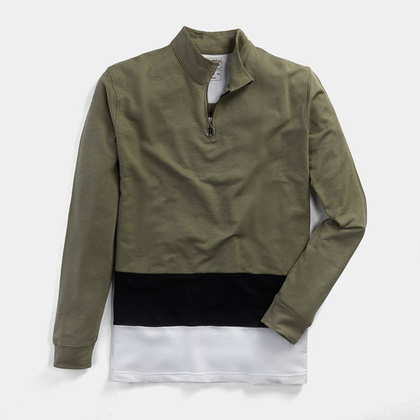 Color Panel Turtle Zip Neck