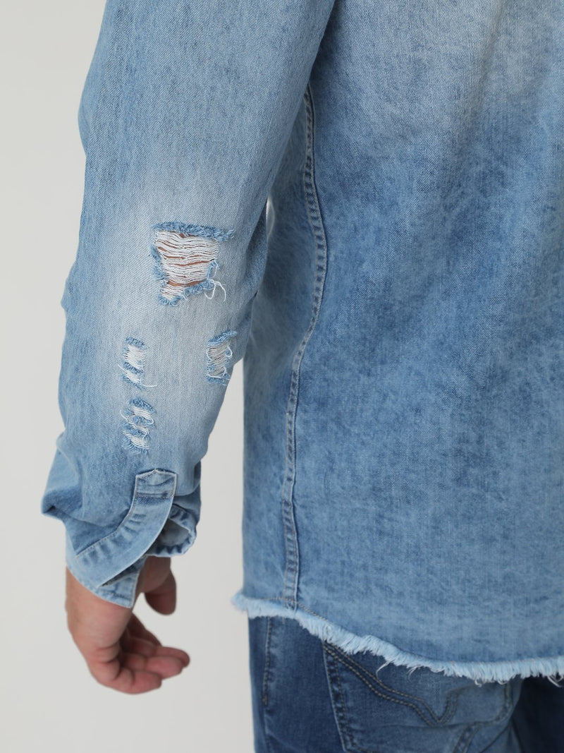 Denim Shirt - Elbow Slit