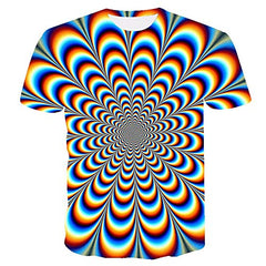 Men's Graphic Optical Illusion T-Shirt Print Short Sleeve Daily Tops Basic Streetwear Rainbow