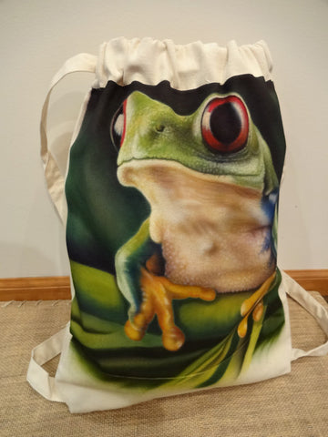 Red Eyed Tree Frog-backpack sport-bag-hand-painted