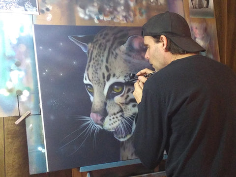 bc airbrushing an ocelot on canvas4endangered