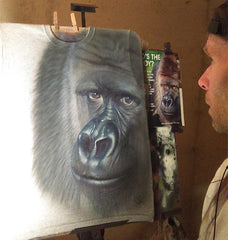 airbrushed Gorilla on t-shirt by bc 4endangered