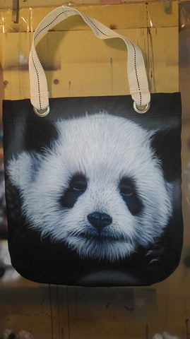 Airbrushed Panda bag on the easel by bc 4endangered