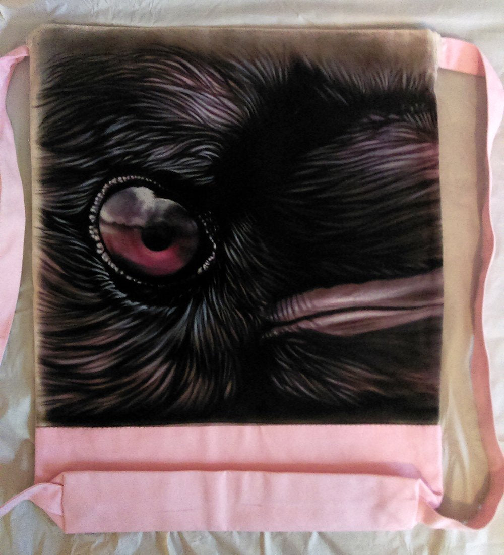 Black Crow Backpack/Sport Bag Black And Pink Airbrushed Backpack-Backpack-4Endangered