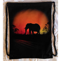 Elephant Black Drawstring Backpack Airbrushed Elephant Silhouette Design