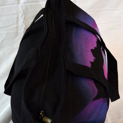 Elephant Black Zippered Closure Canvas Tote-bag Airbrushed-Totes-4Endangered