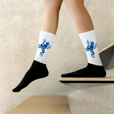 Blue Poison Dart Frog Black-Foot Socks