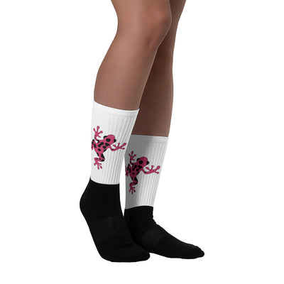 Pink Poison Dart Frog Black-Foot Socks