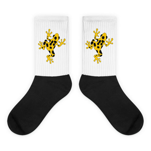 Yellow Poison Dart Frog Black Foot Socks Animal Socks