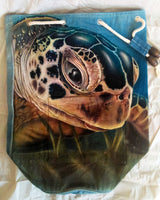 Green Sea Turtle Drawstring Duffel Backpack/Bag Hand-Dyed Airbrushed