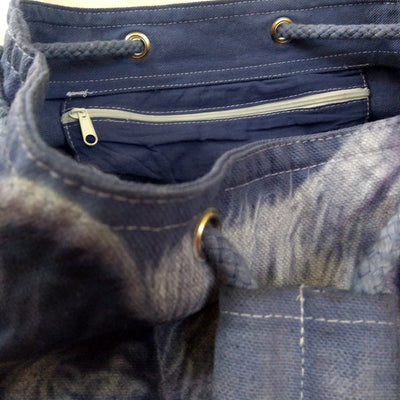 Grey Wolf Drawstring Duffel Backpack/Bag Hand-Dyed Airbrushed-Backpack-4Endangered