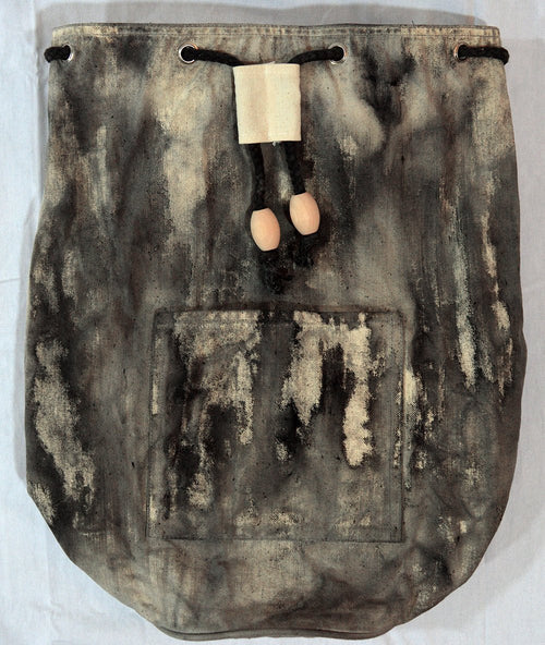 Hand-Dyed Drawstring Backpack Duffel Bag Black and Natural Colors-Hand-dyed Backpack-4Endangered