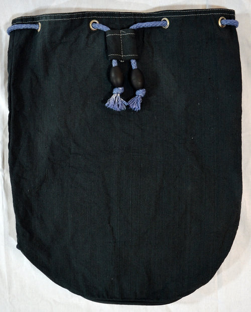 Hand-Dyed Drawstring Backpack Duffel Bag Charcoal Grey Color-Hand-dyed Backpack-4Endangered