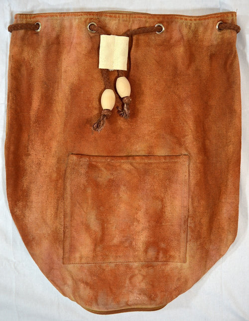 Hand-Dyed Drawstring Backpack Duffel Bag Chestnut Brown Color-Hand-dyed Backpack-4Endangered