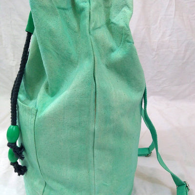 Hand-Dyed Drawstring Backpack Duffel Bag Light Green Color-Hand-dyed Backpack-4Endangered