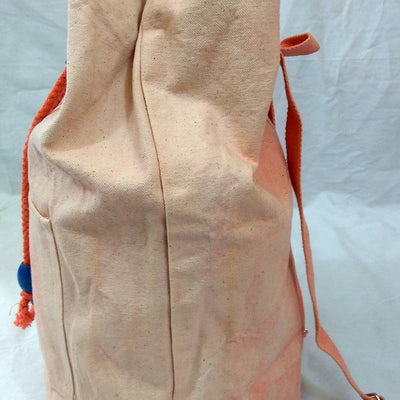Hand-Dyed Drawstring Backpack Duffel Bag Light Peach Color-Hand-dyed Backpack-4Endangered