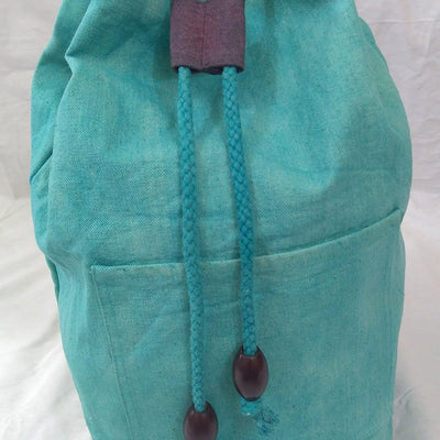 Hand-Dyed Drawstring Backpack Duffel Bag Turquoise Color-Hand-dyed Backpack-4Endangered