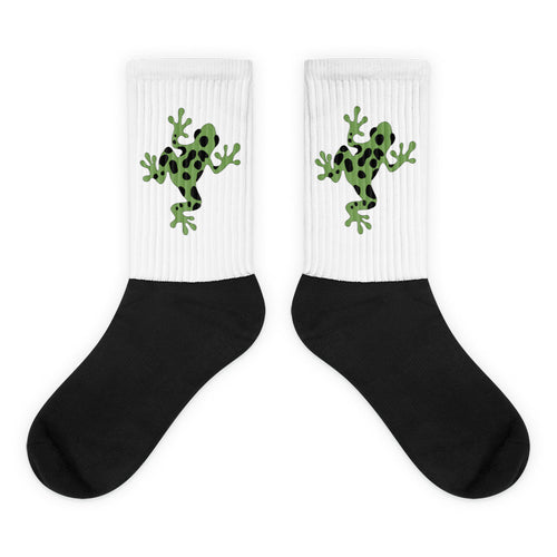 Animal Socks Poison Dart Frog Black Foot Socks Kiwi Green Graphic Frog Design. Thick Ribbing, Cushioned For Maximum Comfort, Unisex Socks 4endangered