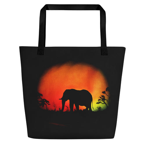 Elephant at sunset Beach Bag
